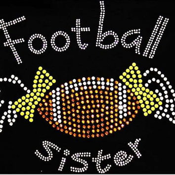 Rhinestone Football Sister T-Shirt - Bling Shirt