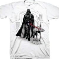 Star Wars Darth Vader Through Hallway Walking At-At Dog WHITE Adult T-shirt - Star Wars - | TV Store Online