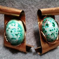 Interesting Vintage Artisan SB Earrings, Copper Scroll Design with Glazed Ceramic Faux Turquoise Cabochons