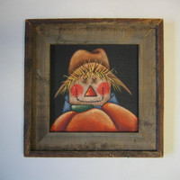 Large Barn Wood Framed Scarecrow with Pumpkin Tole Painted