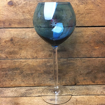 Blue Tinted Starbursts Etched Long Stemmed Wine Glass