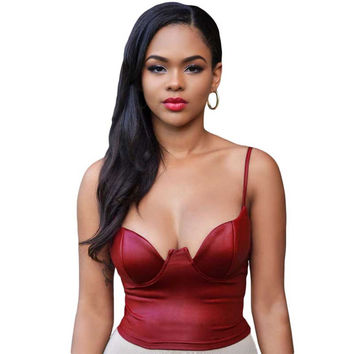 Adogirl Summer Style New Fashion Red Sexy Women Camis Strapless Faux Leather Bustier Bandage Camisole Tank Top Crop Tops