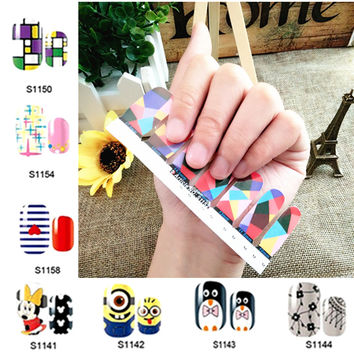 28 Model Lovely Comic Nail Art Sticker 14pcs/set Decals Summer style patch polish gel beauty makeup tools french manicure
