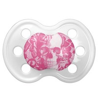Bubblegum Pink rose skull on lace Baby Pacifiers
