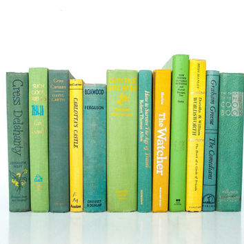 Vintage Decorative Book Collection - Greens, Yellows, and Light Blues