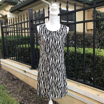 NOTATIONS PETITES Women's Zebra Print Midi Rayon Dress Size Medium