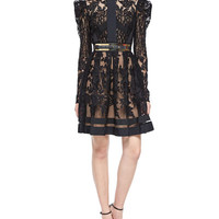 Elie Saab Puff-Sleeve Sheer Lace Fit-And-Flare Cocktail Dress