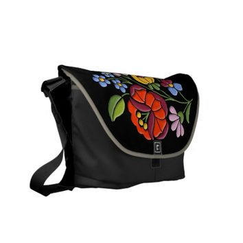 Kalocsa Embroidery - Hungarian Folk Art black bg. Messenger Bag