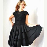 vintage 90s black LACE ballerina BALLET full chiffon TIERED holiday cocktail party dress m medium 8