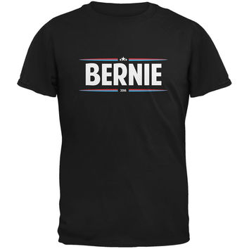 Election 2016 - Bernie Thin Stripes Black Adult T-Shirt