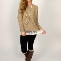 Sara Knit Sweater with Lace Hem: Mocha