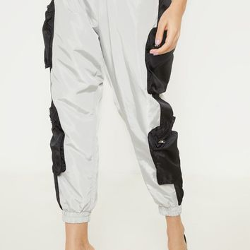 Petite Silver Zip Detail Shell Joggers