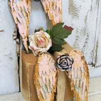 Metal angel wings set wall sculpture shabby chic rusty pink distressed cottage home decor Anita Spero