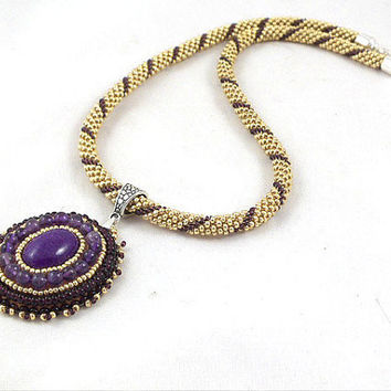 Crochet beads rope necklace gold and purple with pendant, fashion jewelry, seed beads jewelry, beadwork