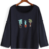 Blue Potted Embroidered Long Sleeve Blouse