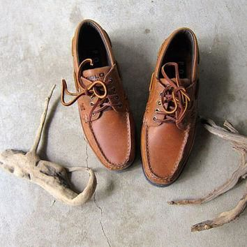 90s Deck Shoes Vintage Ralph Lauren Leather Boat Shoes Brown leather Moccasins Preppy