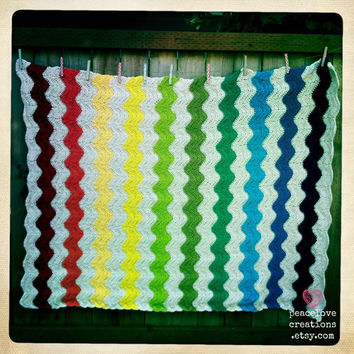 100% Cotton Yarn Crochet Chevron/Ripple Blanket