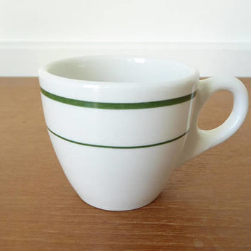 Green stripe Buffalo China espresso cup, demitasse cup