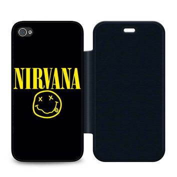 Nirvana Leather Wallet Flip Case iPhone 4 | 4S