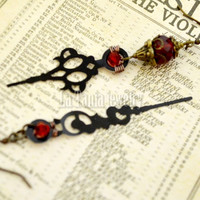 Steampunk Red and Black Earrings – Clock Hands Earrings, Mythology Jewelry, Gothic Earrings
