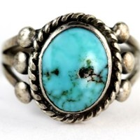 Vintage Navajo Sterling Silver Turquoise Raindrop Ring