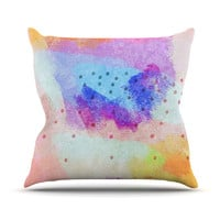 "Iris Lehnhardt ""Summer Pastels"" Multicolor Painting Outdoor Throw Pillow"
