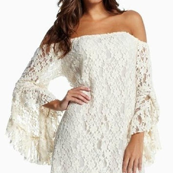 Retro White Floral Lace Dress = 5709675777