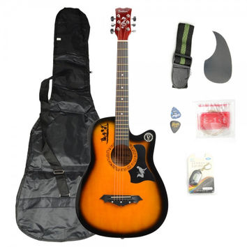 Basswood Guitar Brown with Bag Straps Picks LCD Tuner Pickguard String