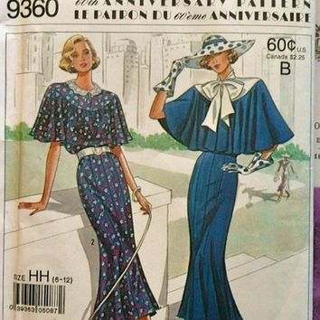 1920's Women's Capelet Dress Pattern, 60th Anniversary Reissue of  Simplicity Pattern 9360 Sizes 14, 16, 18, 20 uncut