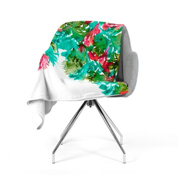 "Ebi Emporium ""Floral Cascade 7"" Teal Red Fleece Throw Blanket"