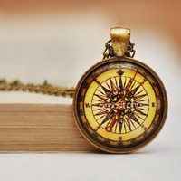 Vintage Compass Pendant Vintage Compass necklace , Resin Pendant, Antiqued Brass Chain Necklace, Glass Dome Necklace