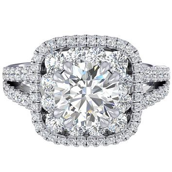 Fana Cushion Shaped Double Halo Diamond Engagement Ring