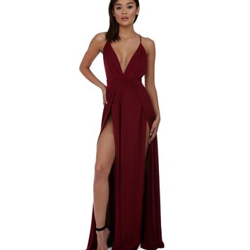 Burgundy Deep In Love Dress