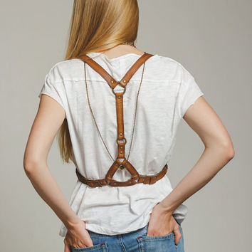 Tan leather women body harness  belt