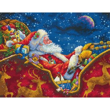 """Santa's Midnight Ride (18 Count) Dimensions Gold Collection Counted Cross Stitch Kit 14""""X11"""""""