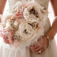 Fabric Flower Custom Wedding Bouquet with rhinestone by Cultivar