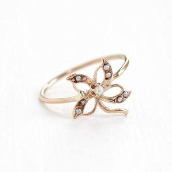 ONETOW Antique Art Nouveau 10k Rose Gold Seed Pearl Flower Ring - Vintage Early 1900s Edwardi