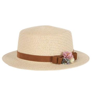 LMF78W Summer Elegant Floral Hats for Women Ladies Causal Beach Cap Vintage Women's Straw Hat Bowknot