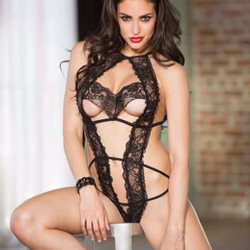 Shirley of Hollywood Tulip Lace Teddy Black