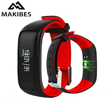 Makibes P1 Bluetooth Smart Bracelet SmartBand Blood Pressure Heart Rate Monitor Call Message Alert IP67 waterproof Fitness Track