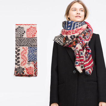 Cashmere Winter Print Scarf [9184246468]