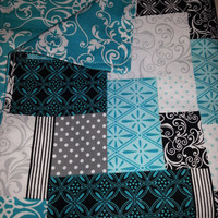 Cherish Patch and Scroll Cotton Baby Blanket - Teal Black and White