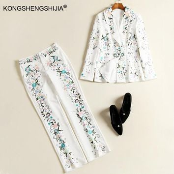 2017 new fashion women suit runway designer suits Pants Suit Tops+Long Trousers  Button embroidery set ladies two piece sets
