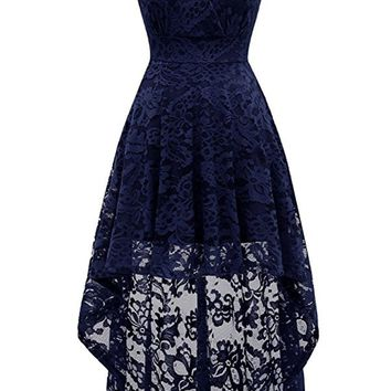 A| Chicloth Simple Cocktail Dresses Lace Short Front Long Back Dresses