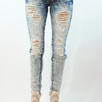 (ank) Light acid wash shredder jeans