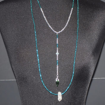 Emerald and Crystal Boho Necklace