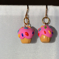 Handmade Polymer Clay Vanilla Cupcakes With Pink Icing and Sprinkles For Kids, Girls, Women, Fun Earrings, Food Earrings, Dessert Jewelry