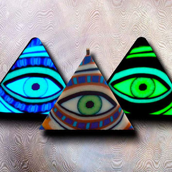 Glow in the Dark Illuminati Eye Pyramid EyeGloArts Handmade Millefiore Blacklight Art #P22014