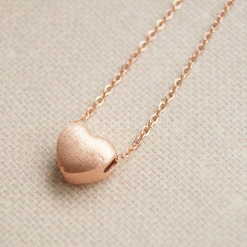 Necklace- Rose Gold tiny heart necklace,925 Sterling Silver heart necklace,brushed silver necklace