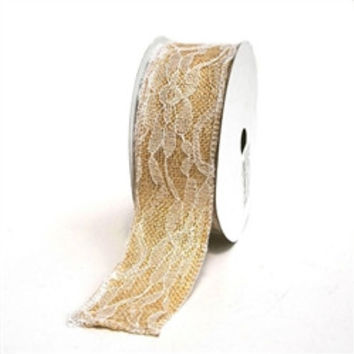 Faux Burlap and Lace Ribbon, 1-1/2-inch, 10-yard, Ivory